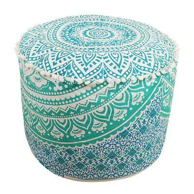 "Indian 22"" Round Ottoman Footstool Cotton Fabric Pouf Covers Green Ombre Mandala"