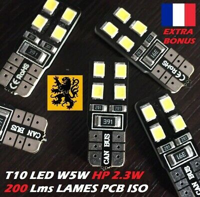 5 x T10 W5W LED 8 SMD HP 200 Lm BLANC 6000K 12V 2,3W LAMES PCB ISO COMPACT 180°