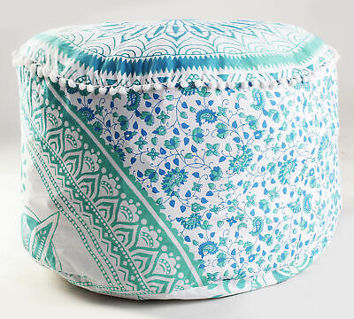 "22"" Indian Ombre Mandala Green Ottoman Footstool Pouf Cover Bohemian Cotton"