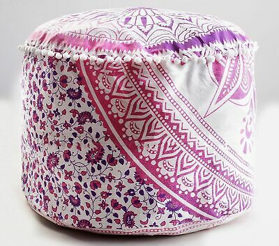 """New 22"""" Pink Ombre Mandala Round Ottoman Vintage Pouf Cover Footstool Floor Pouf"""