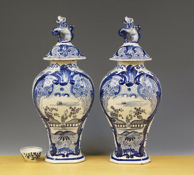 Antique Very Large Pair of Dutch Delft Covered Baluster Vases Floral & Flowers