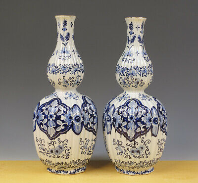 Antique Large Pair of Dutch Delft Ribbed Double-Gourd Vases Floral & Flower 19TH