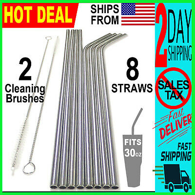 "10.5"" Reusable Stainless Steel Drinking Straws Metal for 30oz  Yeti Rtic Tumbler"