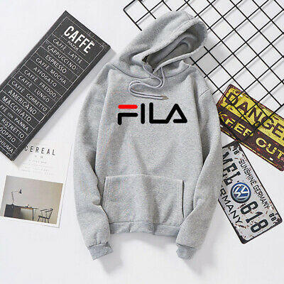 a3711c5236277 FILA Femmes Hommes Sportswear Gris Couple Sweat à capuche Sweat-shirt Pull  Hauts
