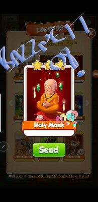 Coin Master Cards Holy Monk fast delivery!!Bazznett08 100% positive trusted!!