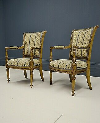 Pair Of Upholstered Antique French 19th Century Directoire Revival Open Armchair