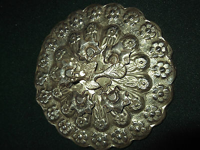 Antique Persian Islamic Ottoman Highly Decorated Silver Mirror~Bird & Floral