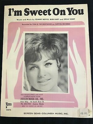 """Tina & The Mustangs """"I'm Sweet On You"""" Rare 1965 P/V/G Sheet Music"""