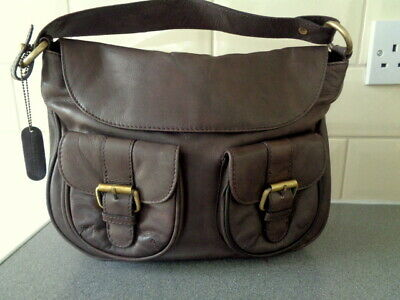 Laura Ashley Brown Genuine Leather Handbag Shoulder bag