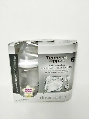 2 X New Tommee Tippee Closer To Nature Easivent Bottles 260Ml  0M+ Bpa Free