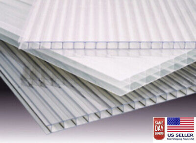 Polycarbonate Clear Greenhouse Sheets(PAK OF 4) 2' x 6' x 8mm(5/16) thickness