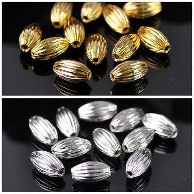 Oval Wrinkled Brass Alloy Metal Loose Spacer Beads Jewelry Making Findings