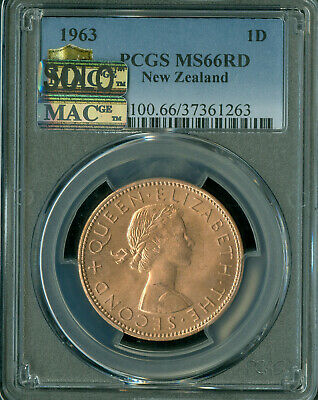 1963 New Zealand Penney Pcgs Ms66 Pq Mac Solo Finest Grade Spotless *