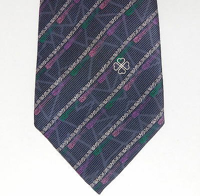 Vintage striped silk tie Hardy Amies Purple hearts 4-leaf clover Yves/Wes Foulee