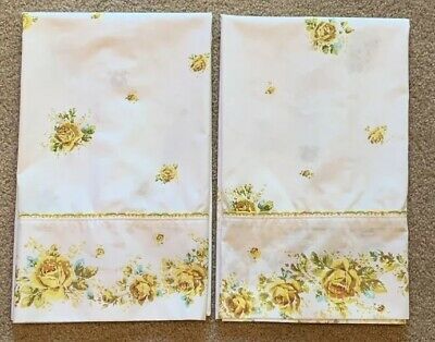 Vintage Springmaid Wondercale Yellow Rose Floral Pillow Case Pair