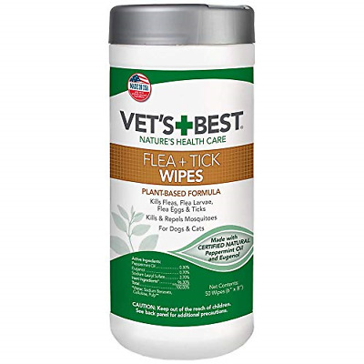 Vet's Best Natural Flea and Tick Wipes for Dogs & Cats, 50 Wipes, USA Made