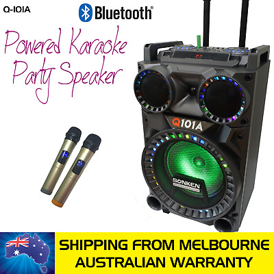 Sonken Q-101A Bluetooth Karaoke Powered Speaker - 50 Watts & 2 Wireless Mics