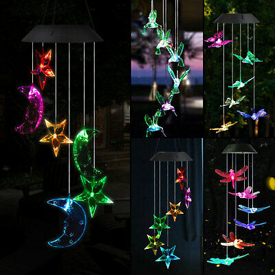 LED Solar Color Changing Wind Chimes Yard Garden Home Window Decor Lamp Lights