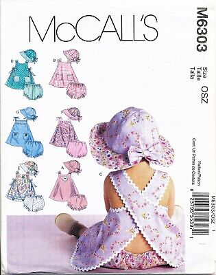 Mmccall's Sewing Pattern 6303 Baby S-Xl Dresses Criss-Cross Back, Nappy Cover Ha
