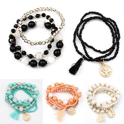 6Pcs Multilayer Natural Stone Crystal Bangle Beaded Bracelet Women Charm Jewelry