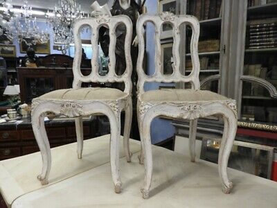 Group of 6 Splendid Ancient Chairs Lacquered Gustaviane Original Period
