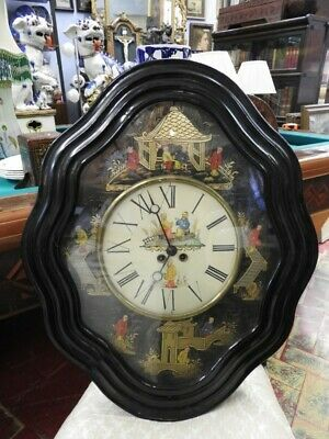Antique Wall Clock 'Bullseye' with Chinoiserie Paris Period End 800