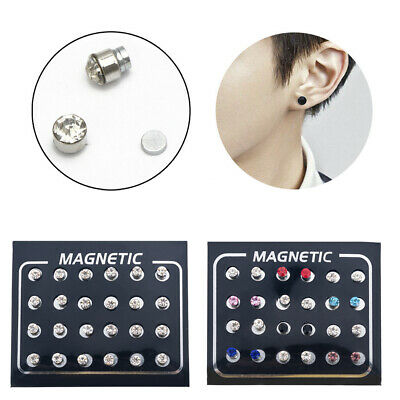 Crystal Rhinestone Magnetic Clip Non Piercing Earrings Fashion Jewelry 12 Pairs