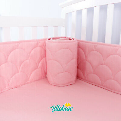 "Baby Breathable Crib Bumper Pad Protector Crib Padded Liners 4PCs 52"" x 28"" Pink"