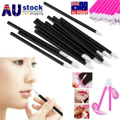 100PCS Disposable Lip Lipstick Gloss Wands Brush Applicator Makeup Tool Stick AU