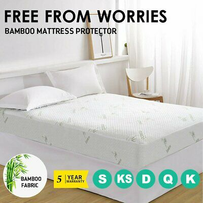 All Size Fully Fitted Bamboo Knitted Mattress Protector Topper Sheet Cover New