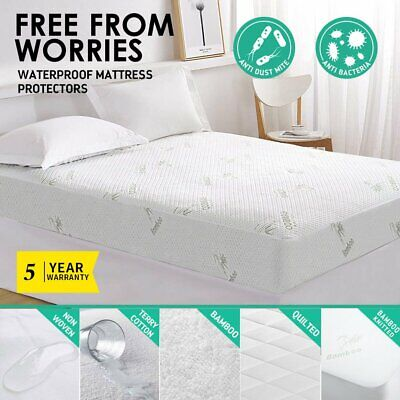 All Size Fully Fitted Waterproof Cotton Bamboo Fibre Mattress Protector Cover AU