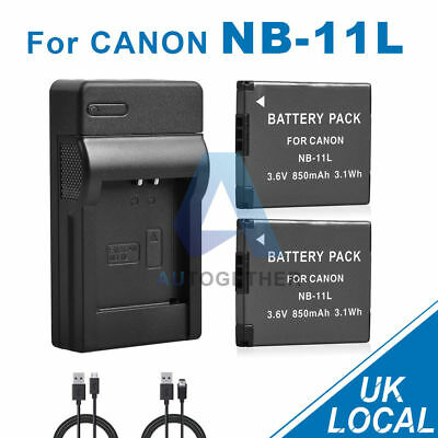 2x850mAh Battery+USB Charger for Canon NB-11L NB-11LH HS240 HS140 A4000 A3500 UK