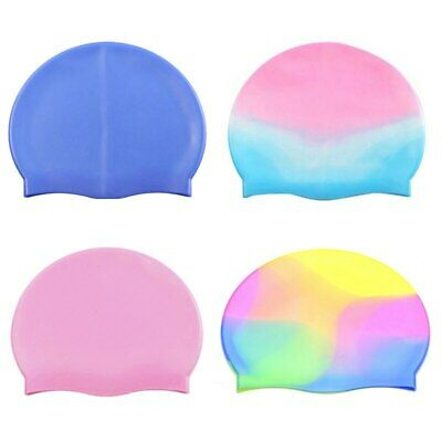 Silicone Swimming Cap Cover Ears Long Hair Swim Pool For Adult Men Women Kids