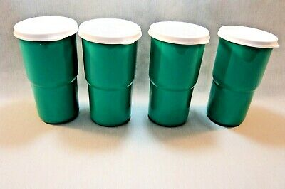 """NEW TUPPERWARE-2412 Green Tumblers-350 ml-Set of 4 with White Seals-px. 5 1/4"""""""