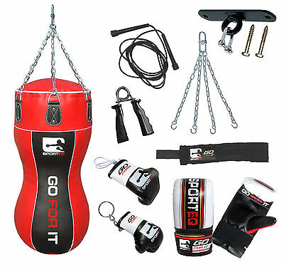 Sporteq® 3.5ft Body Punch Bag Kickboxing Punching Gloves Chain Hook MMA Training