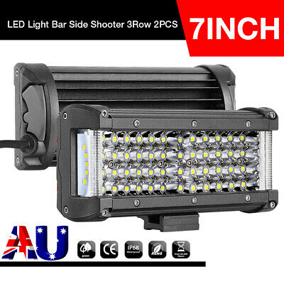 Pair 400W 7INCH LED Driving Lights Spotlights Side Shooter 4-Row 4WD ATV +Wiring