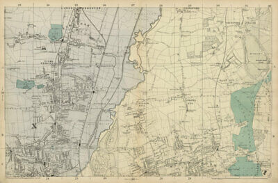 TOTTENHAM WALTHAMSTOW EDMONTON Chingford Hale End Epping Forest BACON  c1887 map