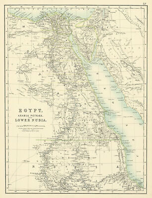 Egypt, Arabia Petraea and Lower Nubia. Nile Valley. BARTHOLOMEW 1898 old map