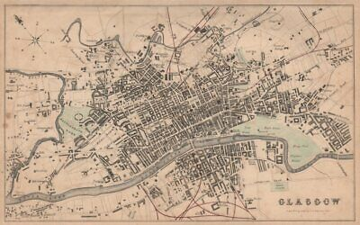 GLASGOW antique town city plan. Scotland. SWANSTON 1868 old map chart