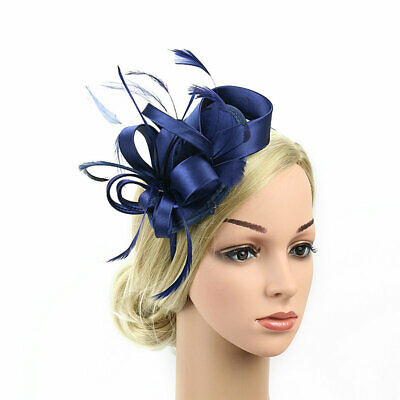 Women Fascinators Hat Feather Satin Flower Headband Wedding Party Headpieces