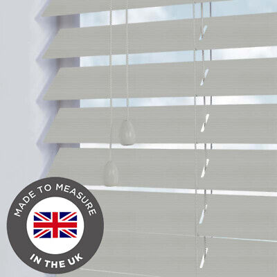 Grey Faux Wooden Blind - Wooden Venetian Blinds - Made To Measure 50mm slats