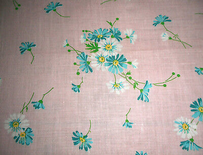 Vintage Cottage Floral Daisy Cotton Fabric ~ Turquoise Blue Yellow on Soft Pink