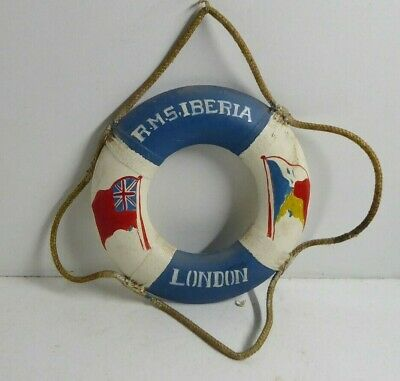 Rms Iberia Steam Ship Shipping Liner Souvenir Life Buoy Ring Wooden Vintage