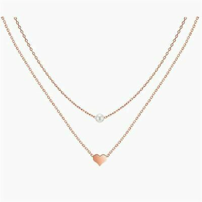 925 Sterling Silver Rose Gold Two Layers Heart Pearl Pendant Necklace Women Girl