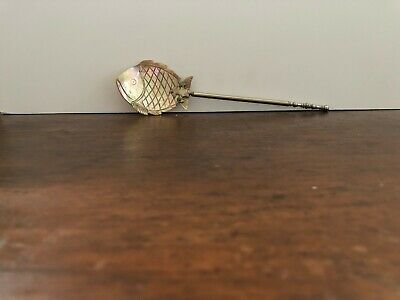 Antique Victorian Mother Of Pearl Inlaid + Carved Fish Spoon Late 1800's ?
