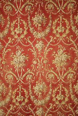 Antique Curtain French Red woven jacquard fabric circa 1870-1880 swirling floral