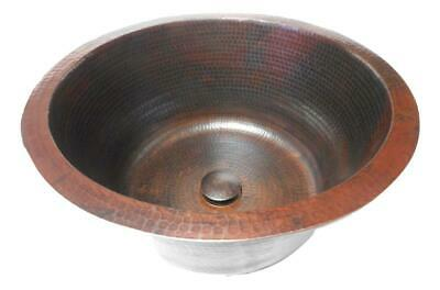 "Extra Deep 16"" Large Round Copper Bathroom Sink with Pop-Up Drain"