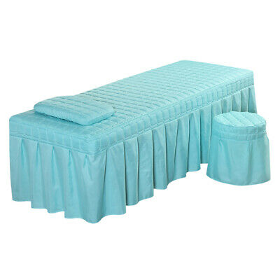Massage Cure Table Bed Linen Sheet Pillowcase Stool Cover 190x70cm Blue