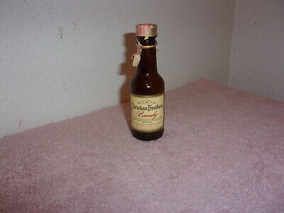 Vintage Christian Brothers Brandy Empty Mini Liquor Brown Glass Bottle