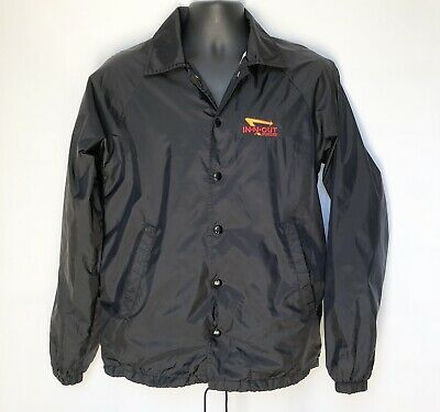 8043616f1 IN-N-OUT BURGER UNISEX Black Nylon Snap Button Windbreaker Jacket Size Small